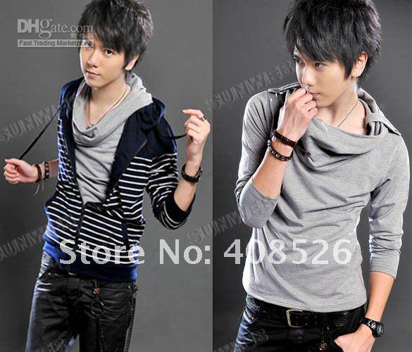 2012 New Stylish Leisure T Shirts For Men Solid Color Hooded T ...