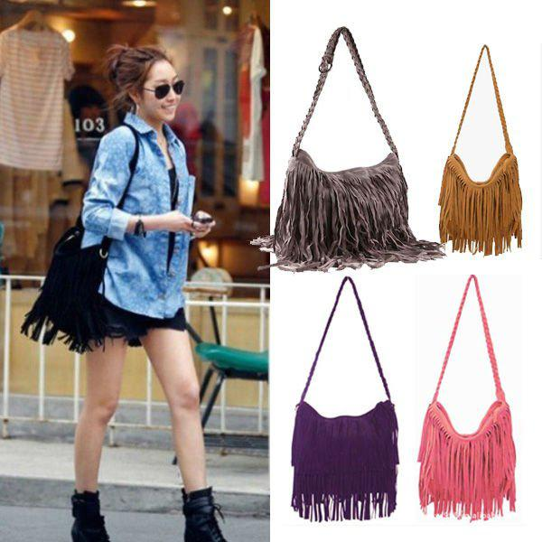 New Fashion Celebrity Bags Women Tassel Fringe Cross Body Bag Shoulder  Messenger Handbag BAG TOTES Lady Cross Body Shoulder Bag BAG 0014 Satchel  Bags ... 8d37b93e6d