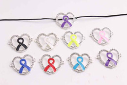 Wholesale Breast Cancer Connectors - pink Ribbon Silver Breast cancer hope Charm for disco pave ball Bracelet 50pcs