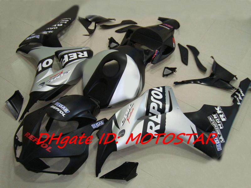 Platt Silver Black Repsol Injection Fairings Kit för 2006 2007 CBR1000RR CBR 1000RR CBR1000 06 07 Road Racing Fairing Kits