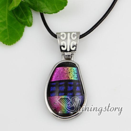Olive fantasia cor folha dicróica fundido artesanal colares de vidro com pingentes de jóias de prata banhado artesanal de alta moda Mup139