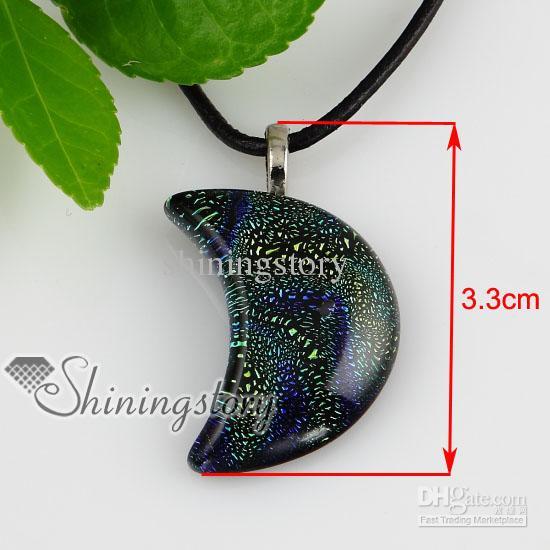 Lua cor extravagante folha dicróica fundido artesanal colares de vidro com pingentes de jóias artesanais de moda jewlery Mup140