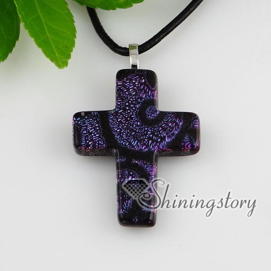십자가 Christan 공상 색 이색 호 일은 펜던트를 가진 수제 유리 목걸이를 융합했다 cheap china fashion jewerly Mup151