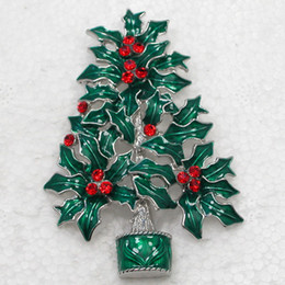 $enCountryForm.capitalKeyWord NZ - Wholesale Crystal Rhinestone Enameling Christmas tree Pin Brooch Christmas gifts Brooches C667