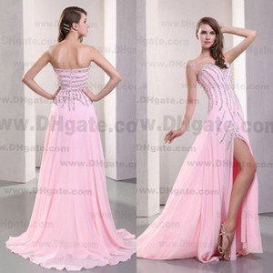 Wholesale 2015 Baby Pink A-line Floor Length Crystals Beads Sweetheart Chiffon Prom Dress Designer Occasion Dresses PD172
