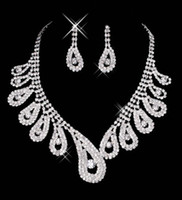 Wholesale Cheap Stone Necklaces - 15-042 Free Shipping Cheap Wedding Bridal Prom Dressess Rhinestone Jewelry Earring Necklace Sets