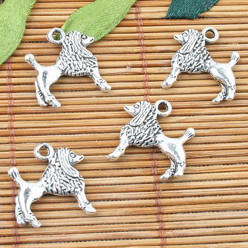 El diseño del perro noble de 2 caras de color plata tibetana encanta 30 piezas EF0002