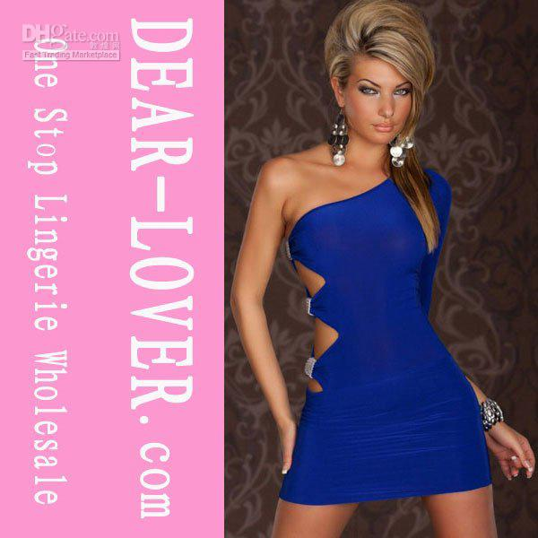 Gogo Sexy One Sleeve One Arm Mini Club Dress Blue Black Lc2551 ...