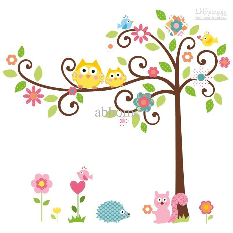 Color Cartoon Owl Tree/Squirrel Children Room Wall Stick Butterfly ...