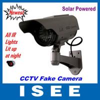 Wholesale Dummy Solar Powered Cctv Cameras - Solar Powered CCTV Security Fake Dummy Camera With All Infrared Lights Lighting At Night free shippi