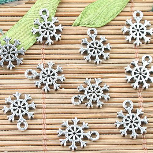 Tibet Gümüş 2 taraflı mini kar tanesi tasarım takılar 80 adet EF0014