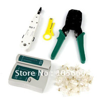 Wholesale Crimping Lan - Wire Cable Crimping Crimp plier Tool set RJ45 RJ12 Network LAN Cable Tester + Punch Tool Free Shipping