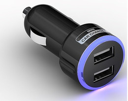 Wholesale Car Charger Usb Light - LED Blue Light Color Ring Circle Double 2 DUAL MINI USB CAR DC CHARGER 5V 2.1A FOR galaxy note IPOD IPHONE 5 MP3 MP4 Black White