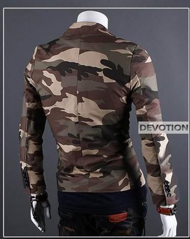 Les nouveaux hommes de mode cravate mince un bouton veste de manteau de camouflage de coton pardessus 2 couleurs