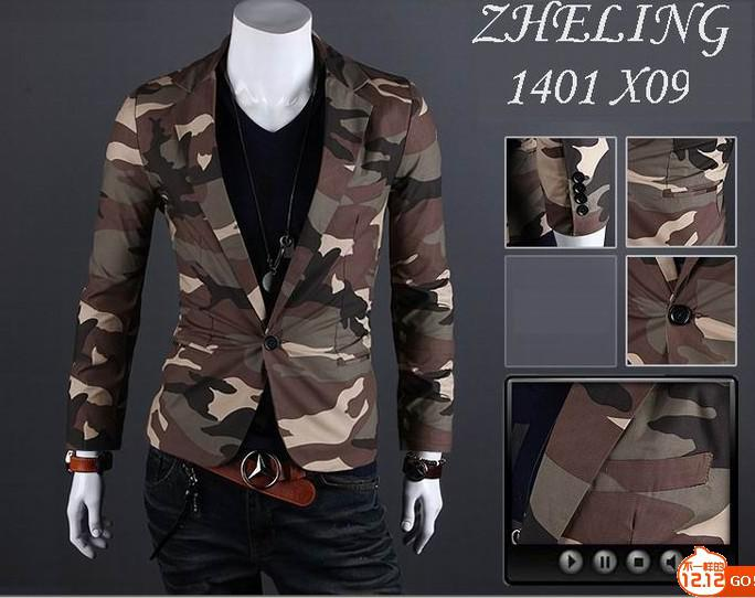 Ny mode män slim lapel enknapp bomull kamouflage coat jacka överrock 2 färg