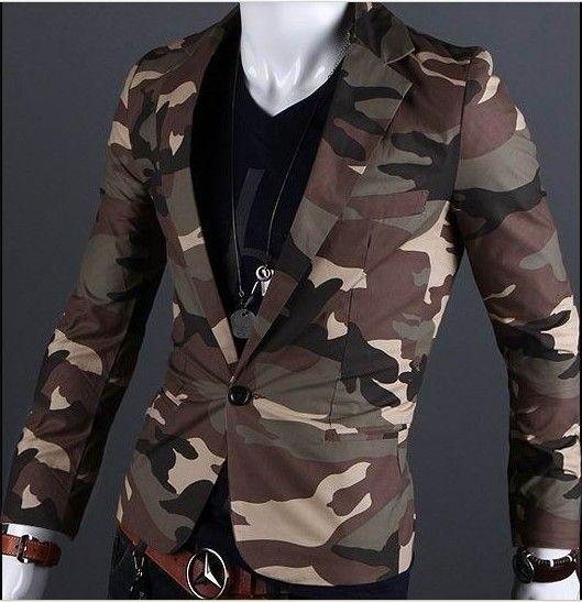 Männer neue Art und Weise dünne Revers Einknopf-Baumwolle Tarnung Manteljacke Mantel 2 Farbe