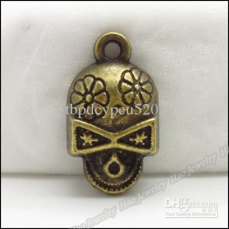 Charms Skull Pendant Antique bronze Alloy Fit Bracelet Necklace DIY Metal Jewelry 80pcs/lot