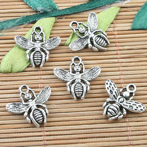 Alliage métal tibétain argent charmes 26pcs EF0022 de conception d'abeille