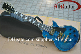 China Factory direct sales Custom Shop blue Tiger electric guitar China Guitar suppliers