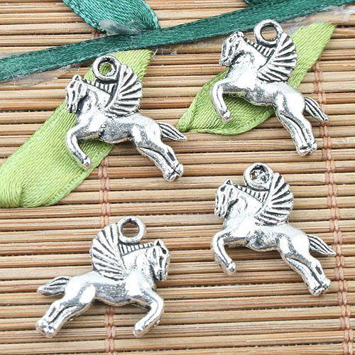 Prata Tibetano 2 lados do vôo cavalo design encantos 24 pcs EF0034