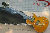 guitarra elétrica inlay da árvore venda por atacado-Custom Shop amarelo Tiger Tree of life embutimento fret board guitarra elétrica China Guitar Factory vendas