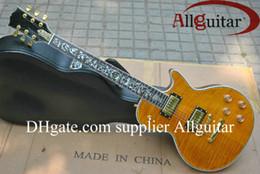 Intarsio della chitarra di vita dell'albero online-Custom Shop giallo Tiger Tree of life inlay fret board chitarra elettrica China Guitar Factory sales