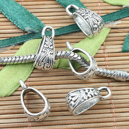 Wholesale Tibetan Silver Connectors Bails - Tibetan Silver color crafted spacer bail charms 30pcs EF0043
