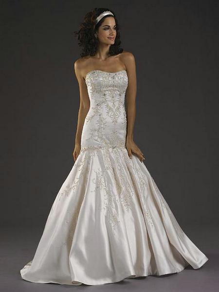 Cheap satin scoop trumpet wedding dress beaded embroidered for Www dhgate com wedding dresses
