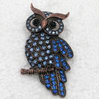 joyas de fantasía de diamantes de imitación broches pins al por mayor-Comercio al por mayor Crystal Rhinestone Owl Brooches Fashion Costume Pin Broche Joyería regalo C943
