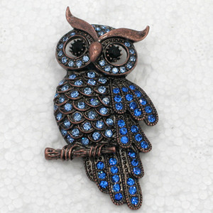 Wholesale Crystal Rhinestone Owl Brooches Fashion Costume Pin Brooch Jewelry gift C943