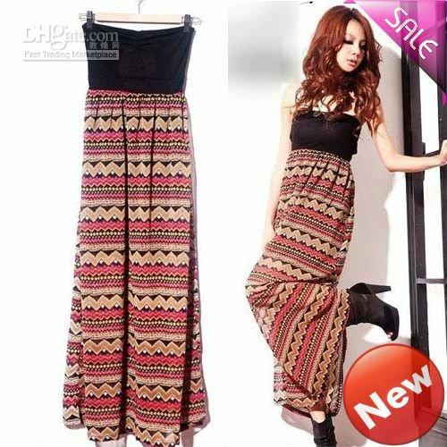 Women's European Tube Maxi Dress Fashion Sexy Strapless Pattern ...