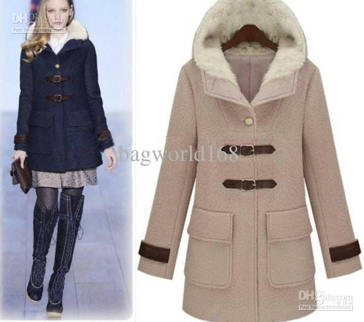 Online Cheap Fashion Women's Dust Coats Ladies Hooded Coat Fur ...