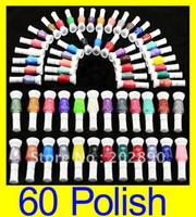 Wholesale Nail Art Pen Striper Set - 60pecs lot 60 colors 2-Way Glitter Makeup Nail Polish Art Striper Pen +Varnish Brush Set