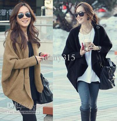 Autumn Winter Plus Size Women Sweaters Lady Batwing Sleeve Poncho