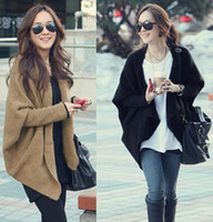 Automne Hiver Pulls en taille grande Lady Batwing Sleeve Poncho Cape Cardigan Sweater Coat Cloak Knitting Outerwear