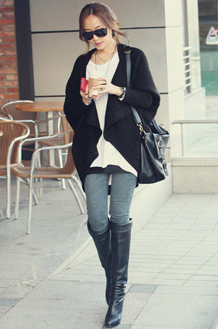 가을 겨울 플러스 크기 여성 스웨터 레이디 Batwing 슬리브 판초 케이프 카디건 스웨터 코트 외투 뜨개질 아우터