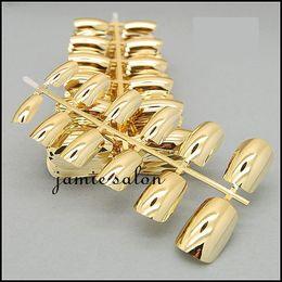 Wholesale Glitter Pre Design Nail Tips - Free Shipping Fashionable Metallic Gold Full Cover False Nail Art Tips #602