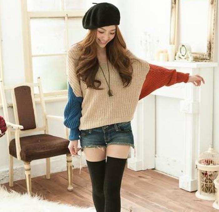 Kadın giyim artı boyutu kapşonlu kazak batwing kol kontrast pelerin panço pelerin hoodies sweatershirts ceket outerwer
