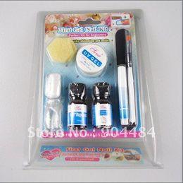 Wholesale Gel Nail Brushes Files - MINI Nail Art UV Gel Set kit With Acrylic Flase Tips Brush File Glue Primer Etc For Pro Salon Nails