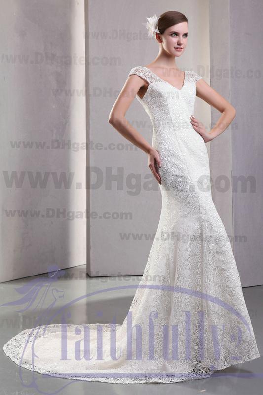 Winter mermaid wedding dress cap sleeves v neck v low back for Winter mermaid wedding dresses