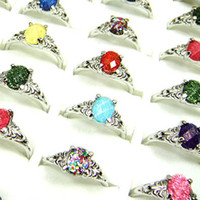 Wholesale Mixed Silver Jewerly - wholesale jewerly Lots of 20pcs Acrylic with silver plated fashion rings mix size