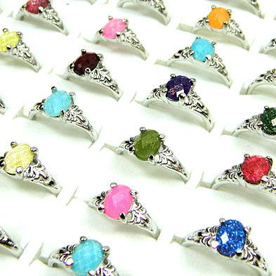 Groothandel jewerly veel van 20 stks acryl met verzilverde mode ringen mix grootte
