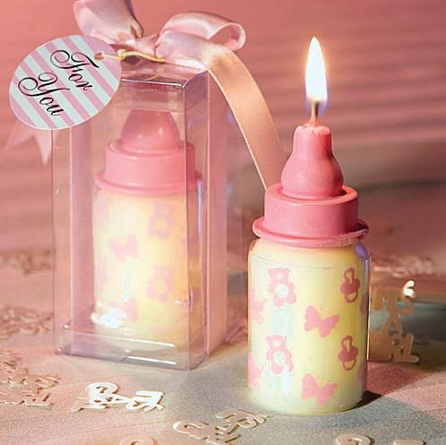 unique baby shower favors feeding bottle shaped candle favors in baby blue or pink 24pcs