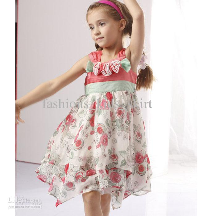 2017 2013 Girl's Summer Dress New Chiffon Dress Printed Flower ...