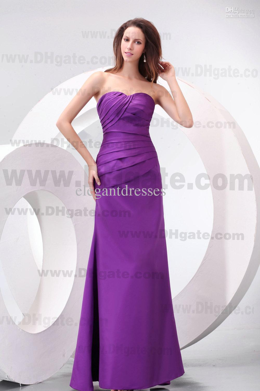 2019 Impresionante sin tirantes A-Line Encaje Up Púrpura Vestido de dama de honor de Satin Pedido Pedido de honor de la sirvienta Vestidos baratos de dama de honor vestidos de fiesta