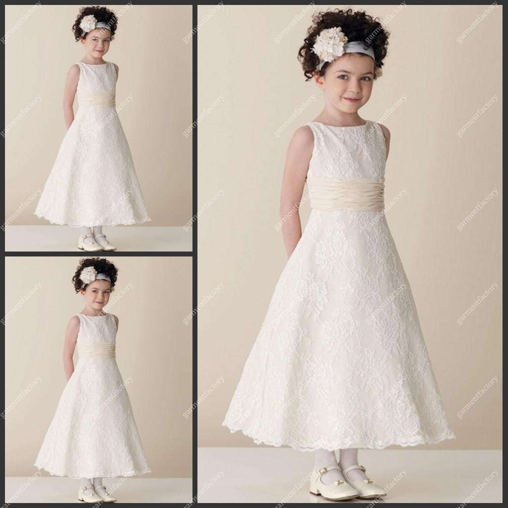 Kids bridesmaids dress bateau neckline a line ankle length ivory see larger image ombrellifo Image collections