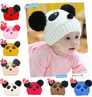 Wholesale Panda Knitted Hat - 2016 new Autumn Winter children knitting panda cartoon hat boy girl cap (8colour) edison168