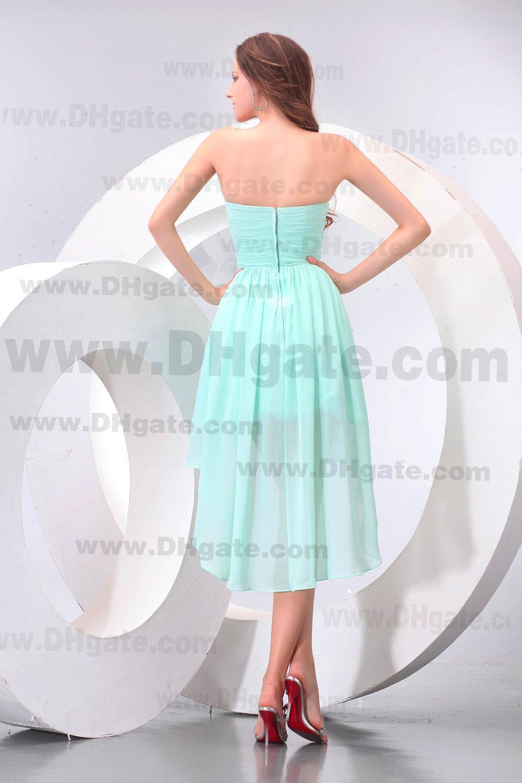 Nieuwe verbluffende korte voorste lange rug salie hoge kwaliteit chiffon bruidsmeisje jurk bd071