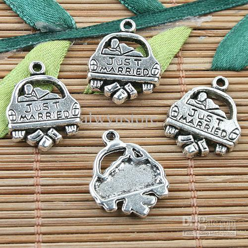 Tibetische silberne Farbe JUST MARRIED Design Charms 22pcs EF0069