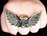 Wholesale Vintage Rings Peace - Vintage Style Bronze Metal Peace Symbol Wing Skull Ring Adjustable 12pcs lot unisex Jewellery